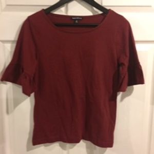 J Crew Raspberry Heather Ruffle Sleeve Top Sz XS